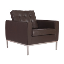 Replica brown genuine leather knoll lounge chair