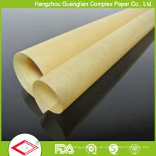 Kundengebundenes natürliches braunes Backpapier in den Blättern und in den Rollen