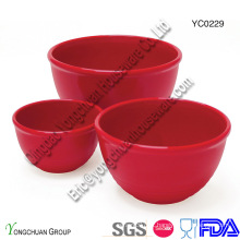 Cerâmica Red Serving Bowl Set-medição Bowl