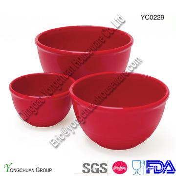 Ceramic Red Serving Bowl Set-Measuring Bowl