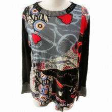 Knitting Fabric-off, Neckline with Button Decoration Manual Beading Long Shirt