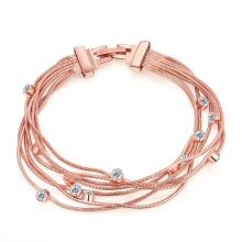 Mode Eco-Friendly Bracelet en or rose Forme en cristal Bracelet en forme de pendentif Bracelet en bois à plusieurs niveaux