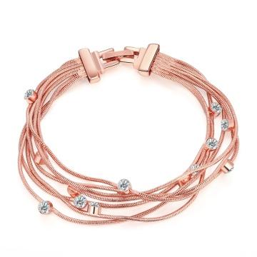 Moda ecológica de oro rosa pulsera de cristal de forma pendiente pulsera encanto Multilevel mujeres pulsera