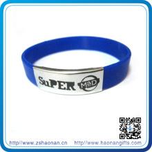 Artículos de regalo Pulsera de metal de silicona con logotipo personalizado