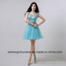 Scalloped cristal frisado amostra de tule elegante vestidos curtos de baile