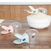 Food Grade Plastic Food Bag Sealing Clip Cute Cartoon Duck Shape Rice Spoon Popular Mini Plastic Bag Seal Clip with Spoon