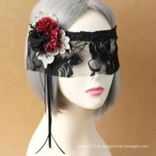 Máscara facial de tecido de renda laço de festa do Dia das Bruxas