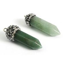Cheap Hot Sale Rock Green Semi Precious Gemstone Point Pendants Necklace