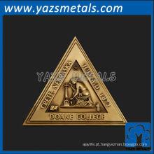 personalize medalhas de metal, medalha de triângulo da faculdade Doane de alta qualidade personalizada