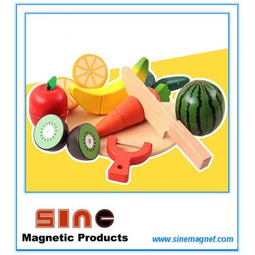 Juguete de corte de frutas y verduras magnético de madera / juguete educativo