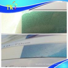 Fälschungssicheres Pigment Grün bis Blau / Verwendung für Fälschungssicherungsetiketten.
