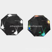 8 Black Panels Farbwechselbarer Stoff Taschenschirm (YSC0004)