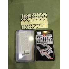 Double Six Dominoes In Tin Box Ivory Domino