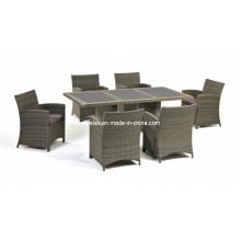 Pátio de jantar de vime conjunto mobília de jardim ao ar livre do Rattan