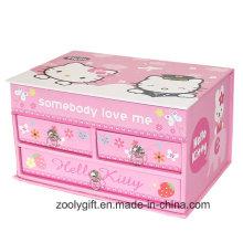 Caja de regalo de almacenamiento de joyería de música de regalo hermoso con cajón y espejo