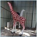 Outdoor Park Decoration Life Size Fiberglass Giraffe Statue