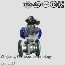 Válvula de bola flotante bridada neumática del acero inoxidable 2PC con 304L