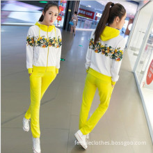 New women's fashion Korean fashion long-sleeved printed hooded sports suit two-piece coat and pants