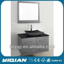 Moderna pared de vidrio templado encimera suspendida vanidad de baño de chapa con espejo enmarcado Mina de baño gabinete
