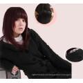 Último Único Breasted Casaco Casuais Long Trench Knitting Mulher com Capuz