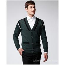 Manufactory Pure Colour V Neck Man Sweater Cardigan