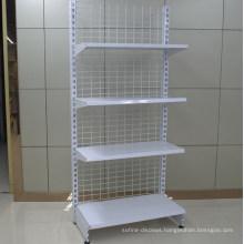 Supermarket Back Wire Mesh Display Steel Wall Shelf