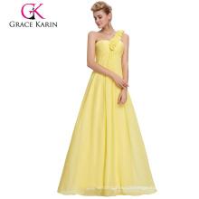 Grace Karin One Shoulder Flower Strap Yellow Long Chiffon Plus Size Evening Dress for Fat Women CL3402-2#