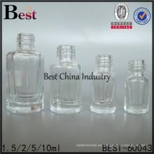 Botella única pulida vacía del esmalte de uñas del envase de cristal cuadrado de 1.5ml