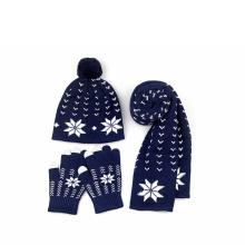 Fuente de fábrica de hilo de lana mujeres de invierno personalizada Warm Thick Cable Winter Set Sombrero hecho punto bufanda y guantes