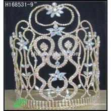 Novo estilo de moda por atacado ouro AB rhinestone coroa tiaras