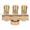 Répartiteur de tuyaux 3 voies en laiton avec valve