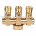 Brass 3 way hose splitter with valve