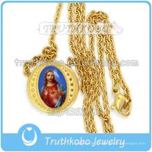 Jóias Religiosas na moda Ouro Sagrado Coração de Jesus Medalha Elo Da Cadeia Atacado Cristo 316 Colar De Aço Inoxidável