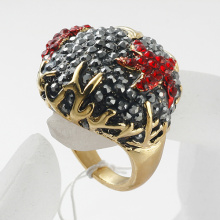 Wholesale Fashion Jewelry AAA Rhinestone Rings Designer Gold Plated red stars Wide Band Ring