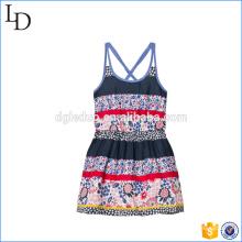 Floral et Stripe bébé filles robe fleur plage / robe décontractée pour les vacances