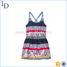 Floral and Stripe baby girls dress flower beach/casual dress for holiday