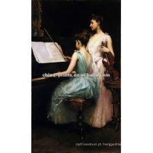 As meninas jogam a pintura a óleo do piano