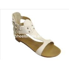 Chaussures de sandales plates blanches pour femmes (Hcy02-471)