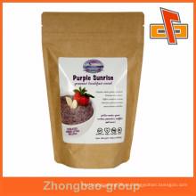 Stand up food kraft marrón bolsa de papel para los cereales de desayuno pacakging con cremallera y pegatina