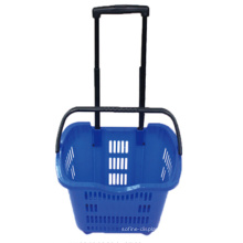 Virgin Hdpp Plastic Wheeled Rolling Shopping Baskets for Sale by Manufacturer