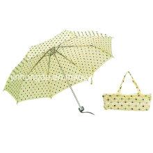 Manuell offene verchromte Welle Falten Regenschirm (YSC0012)
