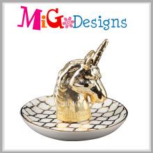 Animal elegante em forma de suporte de anel de cerâmica com galvanoplastia