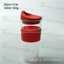 American moda primeira taxa de alta qualidade Food Grade Vidro de parede dupla com tampa BPA livre