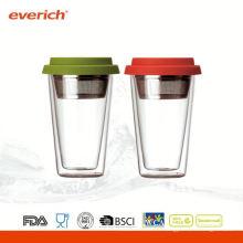 2015 nouveaux produits petite petite coupe de café en verre à double paroi