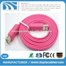 Factory sell Flat USB am to af cable USB 2.0 extension cord Red Blue Black White Pink Purple