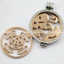 Fashion Silver Locket Designs Pendentif en acier inoxydable Crystal Floating Charm Locket