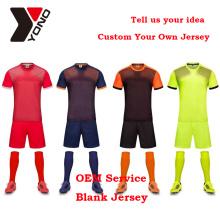 2017 top qualidade camisa de futebol uniforme de futebol personalizado kit em branco camisa de futebol