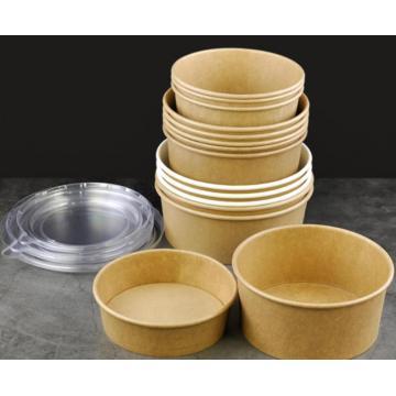 Kundenspezifisch bedrucktes Logo 750 ml 900 ml 1000 ml Einweg-Papiersalat Reisnudelschale Tasse Verpackung