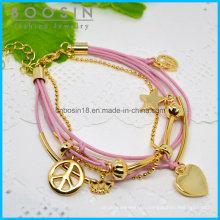 Розовый Провод Кожаная Цепочка Звезда Браслет #31461