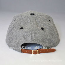 flat leather brim strap snapback hat